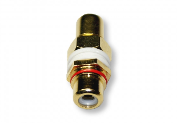 Single RCA Wall Plate Coupler, Red Indicator (Gold Plated) (Photo )