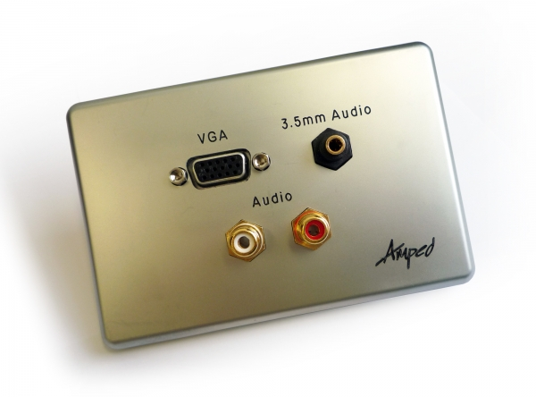 Amped Slimline VGA, 3.5mm Audio & 2x RCA Audio (Brushed Aluminium Wall Plate) (Photo )