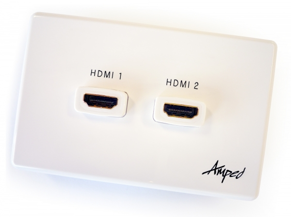 Amped Classic Double HDMI (White Wall Plate) (Photo )
