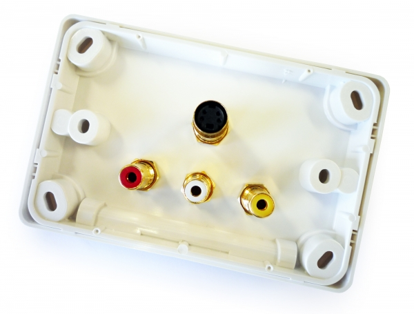 Amped Classic S-Video and 3x RCA Composite + L & R Audio (White Wall Plate) (Photo )