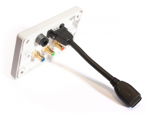Amped Classic HDMI, TOSLINK & Component (White Wall Plate) (Photo )