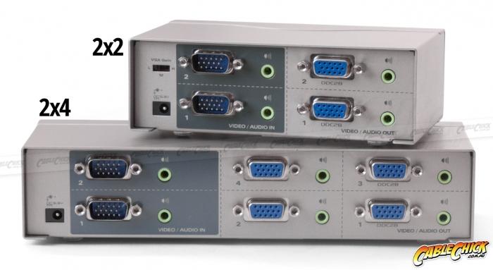 High-End VGA 2x4 True Matrix Switch & Splitter with Audio (Photo )