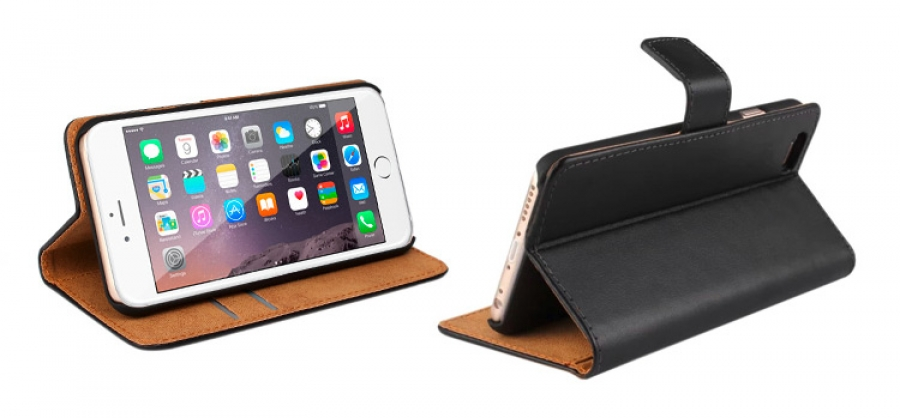 iPhone 6 Leather Wallet Case (Black) + FREE iPhone 6 Screen Protector (Photo )