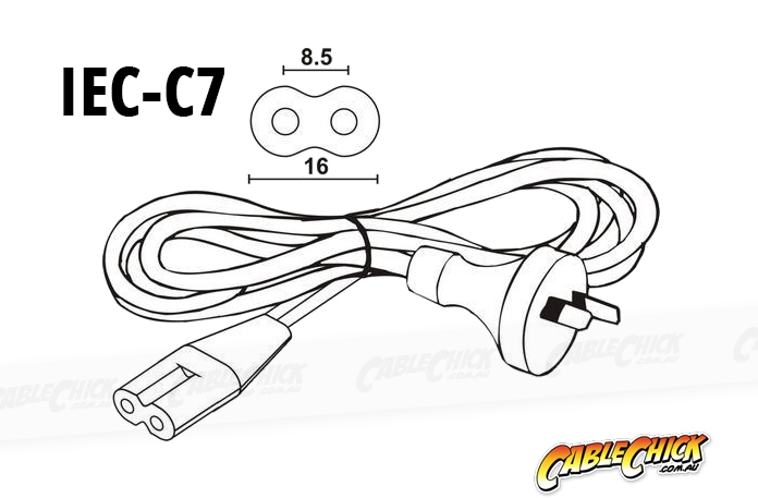 2m IEC C7 Power Cable (IEC-C7 Appliance Power Cord) (Photo )