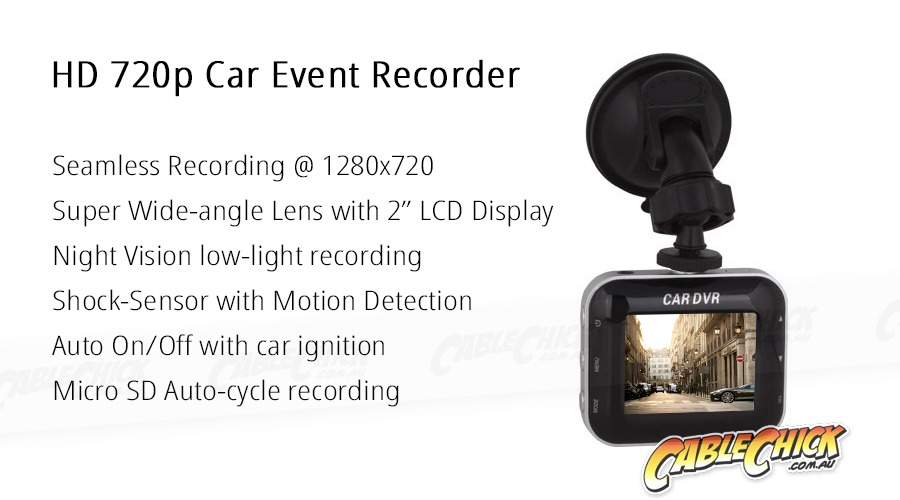 HD 720p Car Camera Event Recorder with Shock & Motion Sensor (Photo )