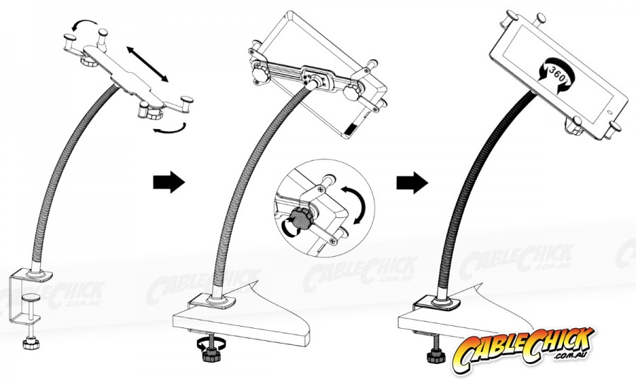 Universal Desk Clamp Mount for Tablets and iPad (Photo )