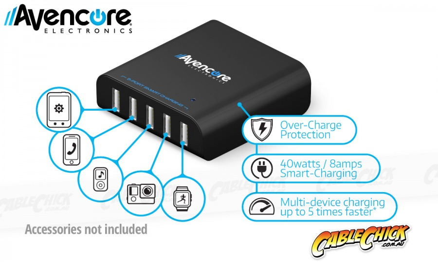 Avencore Avalanche 40W Premium 5-Port USB Charger with 5x Smart-Charging (Photo )