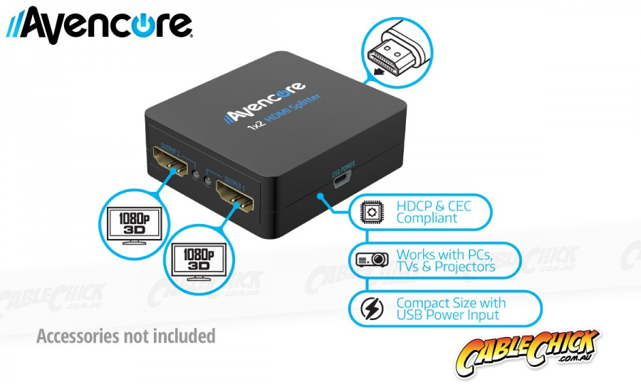 Avencore USB Powered 2-Way HDMI Splitter (HDMI v1.3b with 3D Support & CEC) (Photo )