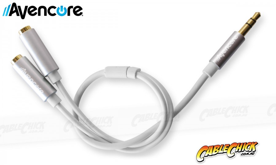 Avencore 20cm Aluminium 3.5mm Stereo Audio Splitter Cable (Male to 2x Female) (Photo )