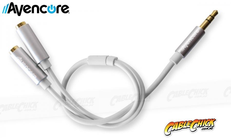 Avencore 20cm Aluminium 3.5mm Stereo Audio Splitter Cable (Male to 2x Female) (Photo )