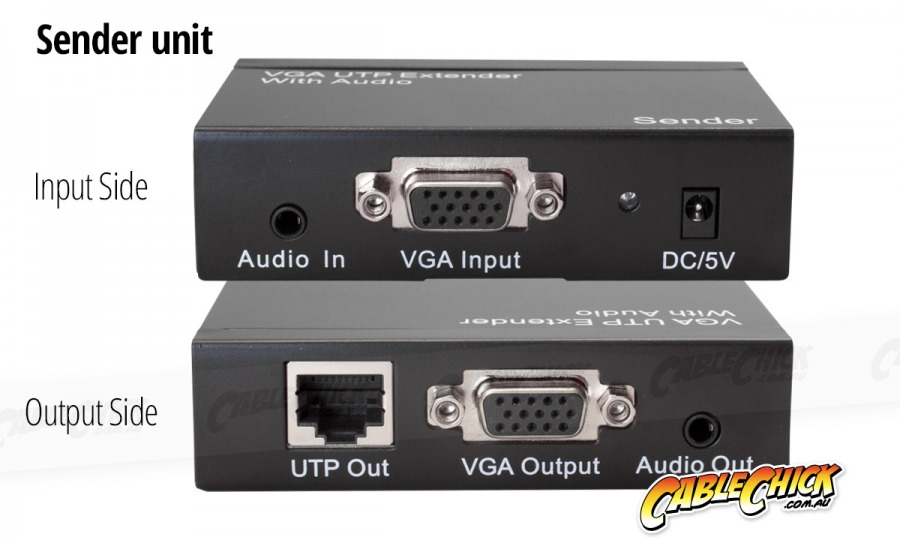 VGA 1x2 Splitter & Extender Over Ethernet (VGA Balun) + FREE