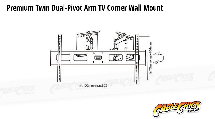 Premium Corner TV Wall Mount with Twin Dual-Pivot Arms (60Kg) (Photo )