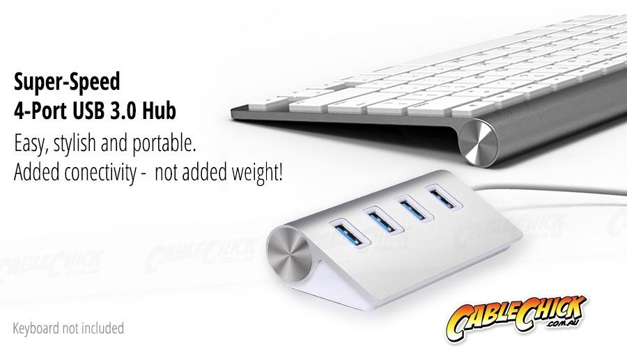 Super-Speed 4-Port USB 3.0 Hub with Aluminium Finish (Photo )