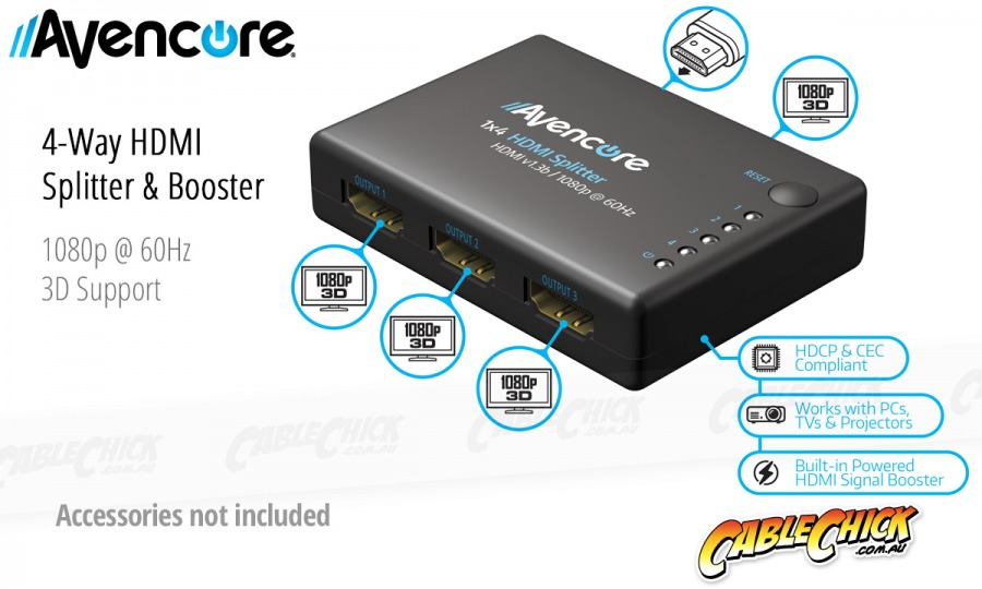 Avencore Compact Powered 4-Way HDMI Splitter (HDMI v1.3b with 3D Support & CEC) (Photo )