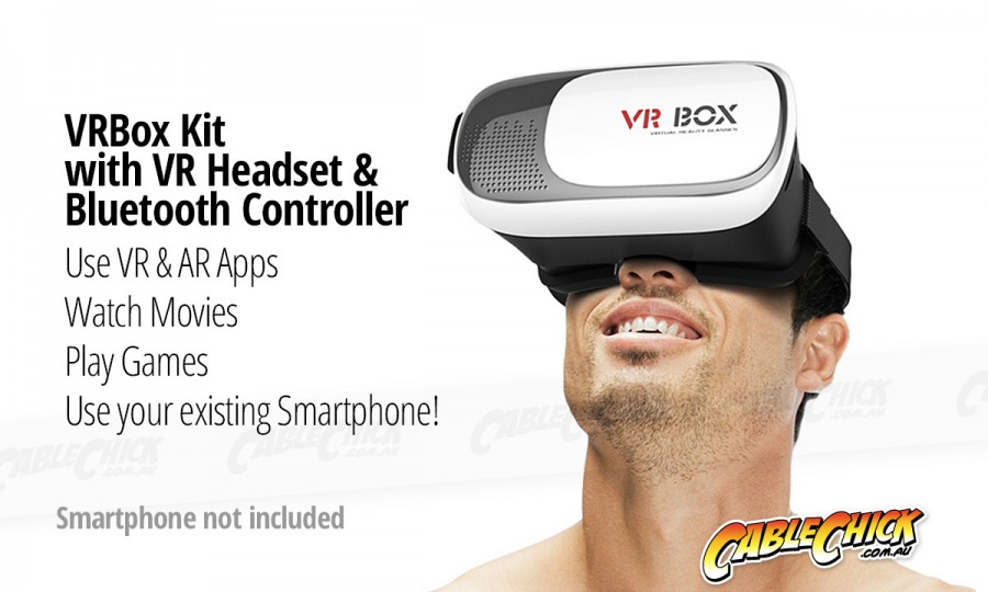 VR Box - Smartphone Virtual Reality Kit with Headset & Bluetooth Controller (Photo )