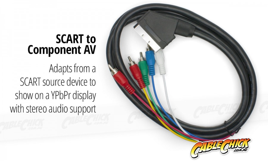 3m SCART to Component Video + Audio Cable (SCART to 5RCA) (Photo )