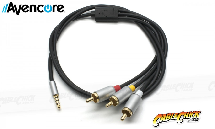 1m Avencore Crystal Series 4-Pole TRRS 3.5mm to 3RCA Composite AV Cable (Photo )