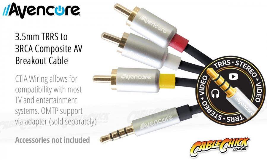 2m Avencore Crystal Series 4-Pole TRRS 3.5mm to 3RCA Composite AV Cable (Photo )