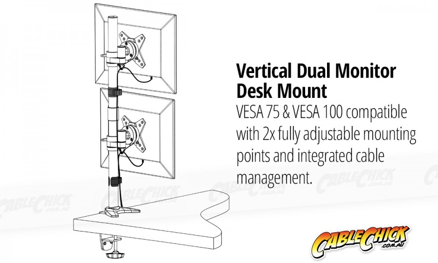 Heavy Duty Dual Monitor Desk Pole-Mount (2x 8kg) (Photo )