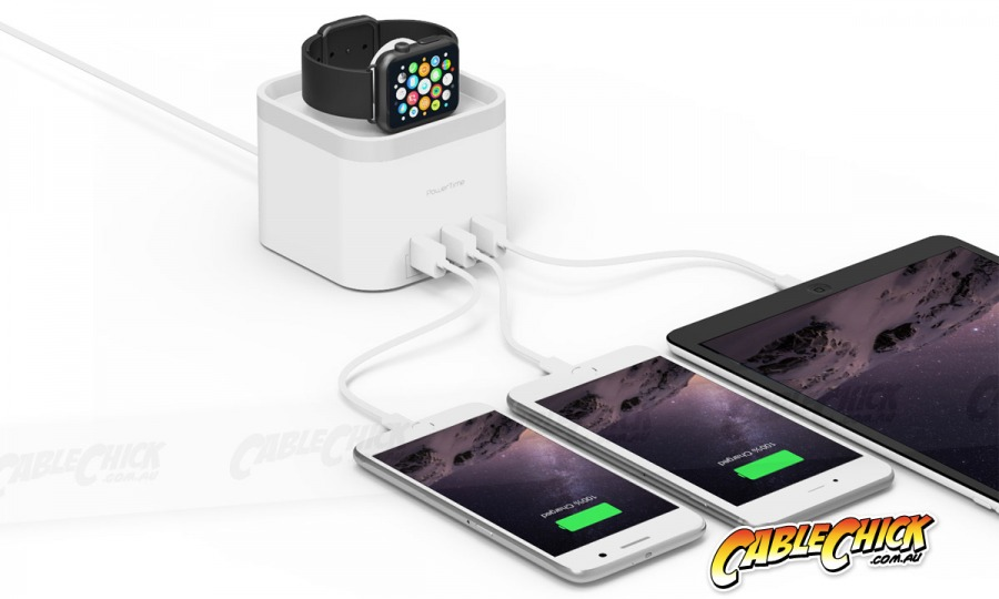 Power-Time Apple Watch Charging Cradle & 3-Port USB Charger (Photo )