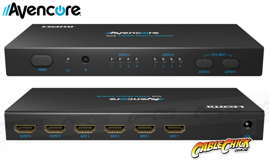 Avencore HDMI 4x2 True Matrix Switch & Splitter with Remote (Supports 3D+1080p@60Hz) (Photo )