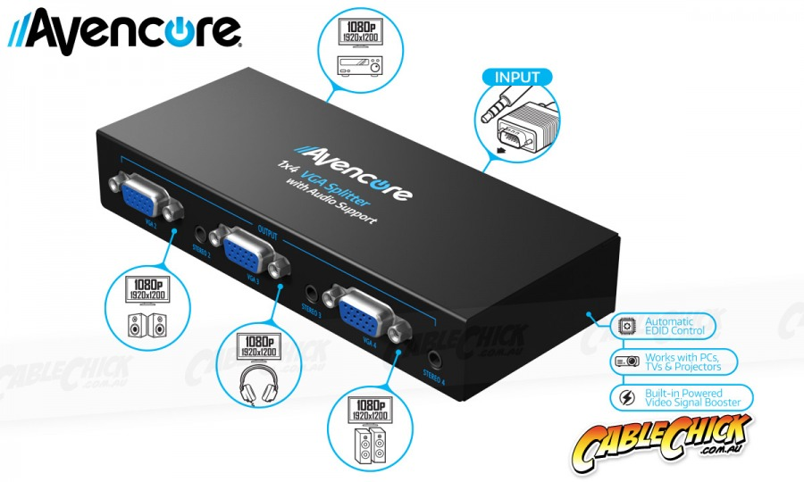 Avencore Powered 4-Way VGA Splitter with Audio (500MHz) (Photo )