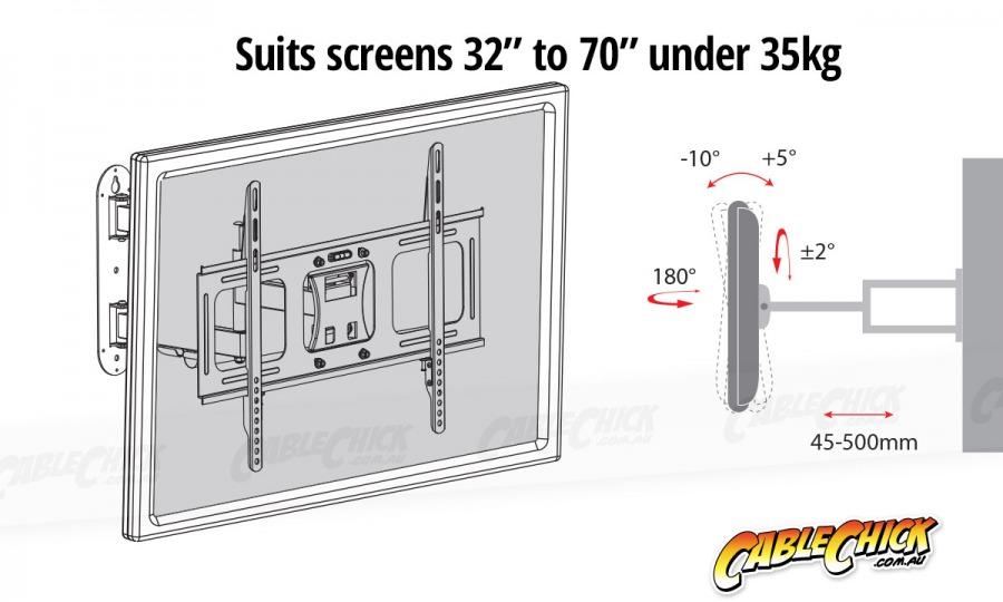 Premium Universal TV Wall Mount Bracket with Extendable Dual Pivot Arms & Tilt (35kg) (Photo )