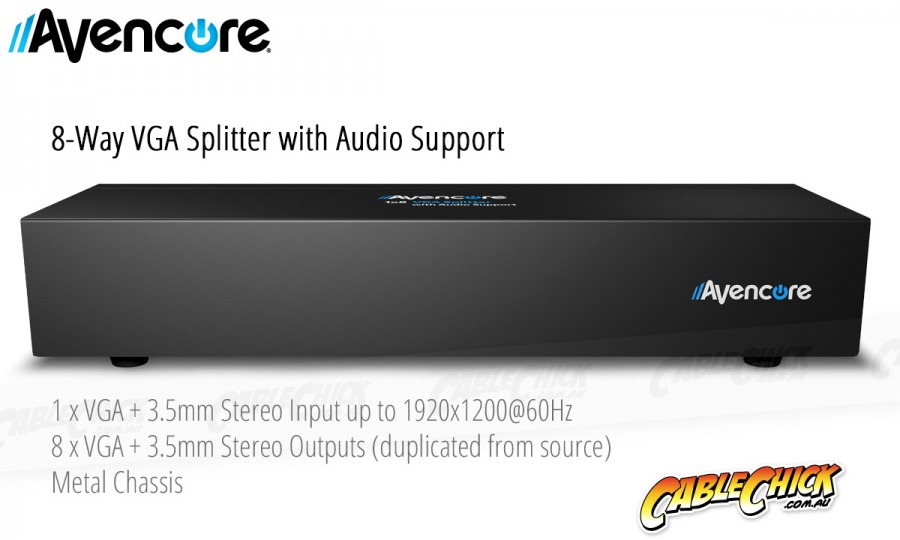 Avencore Powered 8-Way VGA Splitter with Audio (500MHz) (Photo )