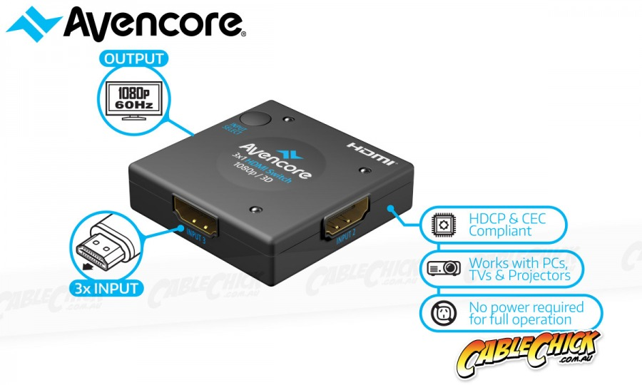 Avencore 3-Way Compact Passive HDMI Switcher (Photo )