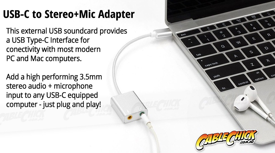 USB Type-C Sound Card Adapter (Stereo + Microphone) (Photo )