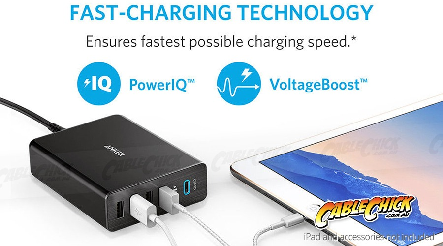 Anker Premium 60W 5-Port Desktop USB Charger with USB Type-C for MacBook Charging (Photo )
