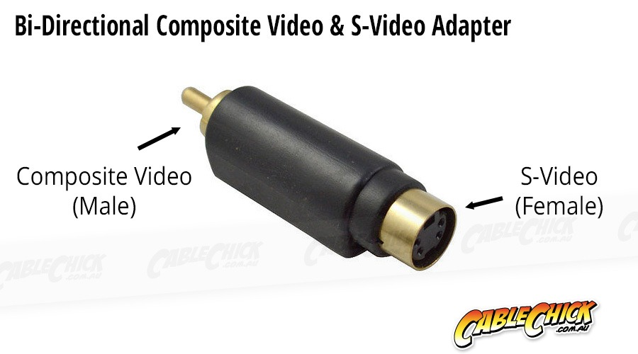 Composite Video (Male) S-Video (Female) Gold Plated Adaptor (Photo )