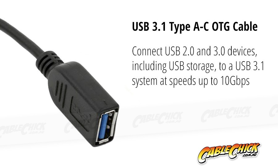 10cm SuperSpeed USB 3.1 Type-C OTG Cable (Black) (Photo )