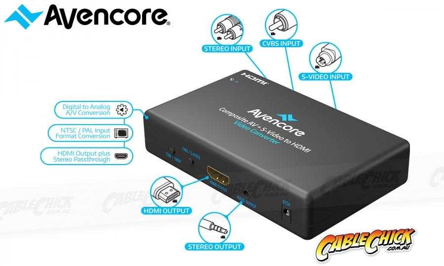 Avencore Composite Video & S-Video + Audio to HDMI Converter (Photo )