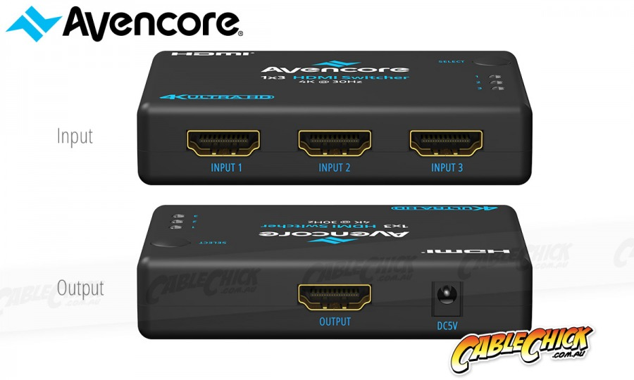 Avencore Halon Series 3-Port HDMI Switch with Remote & IR Receiver (1080p 3D + UHD/30Hz) (Photo )
