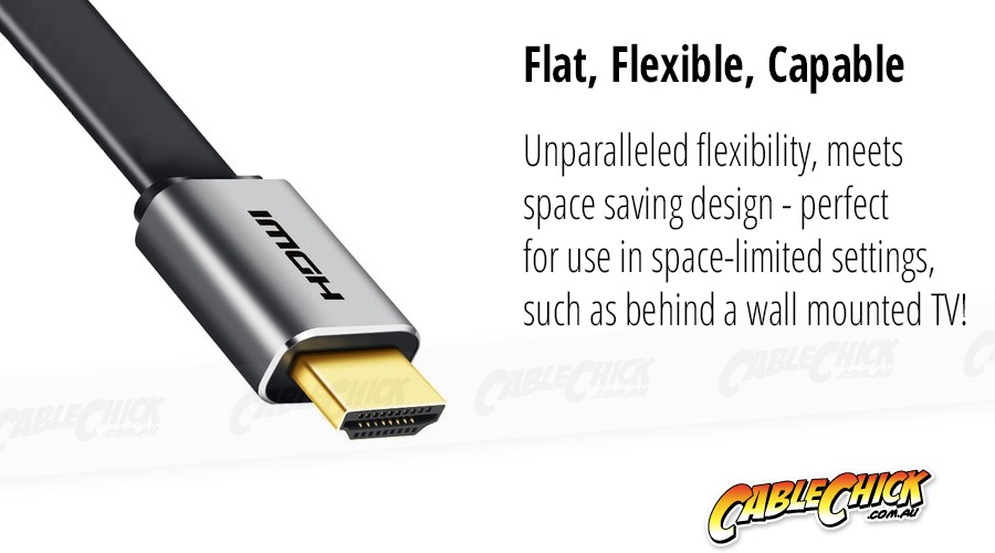 Premium 1m Flat HDMI v2.0a Cable (High-Speed with Ethernet) (Photo )