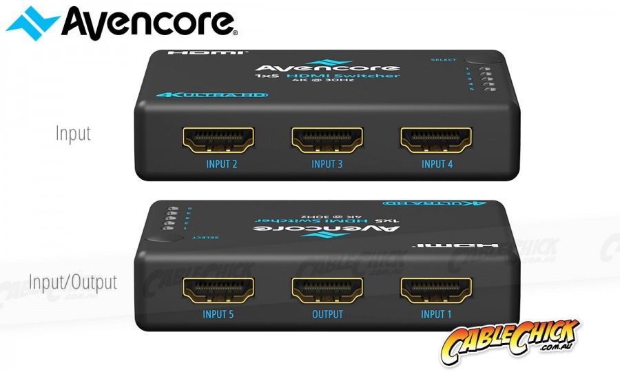 Avencore Halon Series 5-Port HDMI Switch with Remote & IR Receiver (1080p 3D + UHD/30Hz) (Photo )