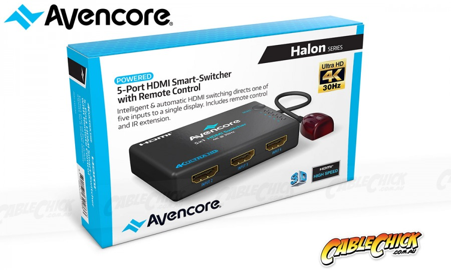 Avencore Halon Series 5-Port HDMI Switch with Remote & IR