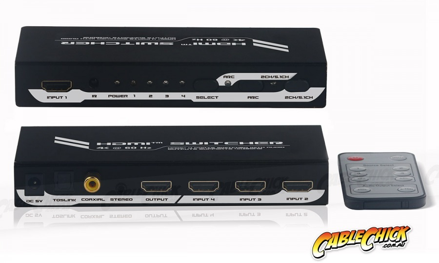 High-End 4-Port Ultra HD 4K/60Hz HDMI Switch & Audio Extractor (4x1 HDMI 2.0 Switch) (Photo )