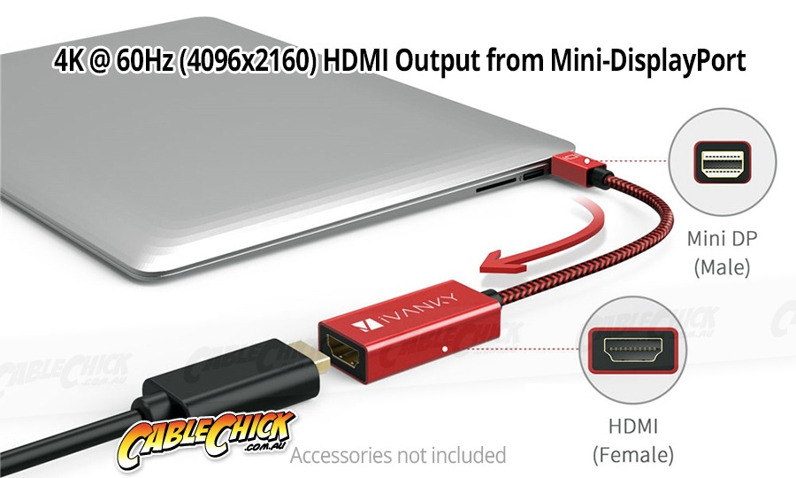 15cm Mini-DisplayPort to HDMI 2.0 Adapter (Supports 4K/60Hz) - Thunderbolt Socket Compatible (Photo )