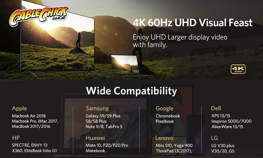 Premium USB 3.1 Type-C to HDMI Cable Adapter (4K @ 60Hz) (Photo )