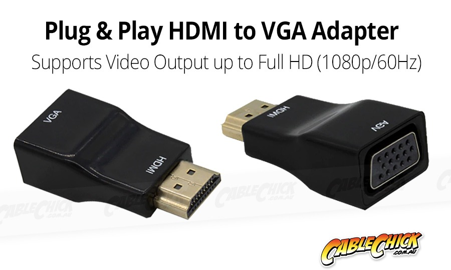 Plug & Play HDMI to VGA Adapter (Photo )