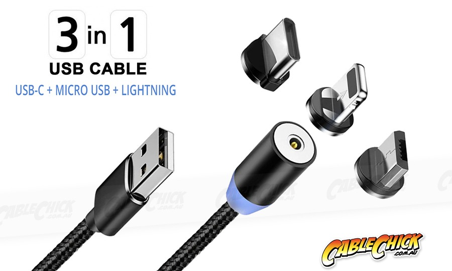 1m Magnetic 3-in-1 USB Sync & Charge Cable (USB-C, Lightning & Micro) (Photo )