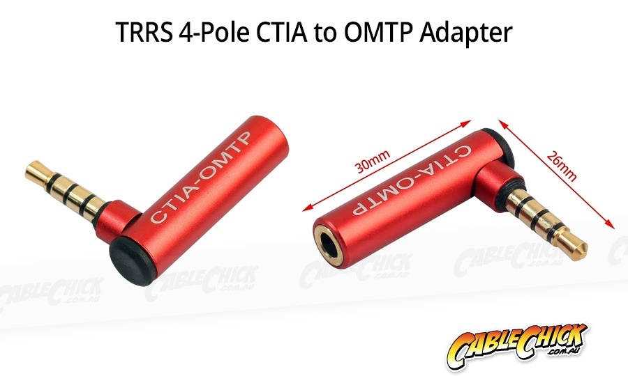 Right-Angle 3.5mm 4-Pole TRRS Standards Bi-Directional Adapter (CTIA to OMTP) (Photo )