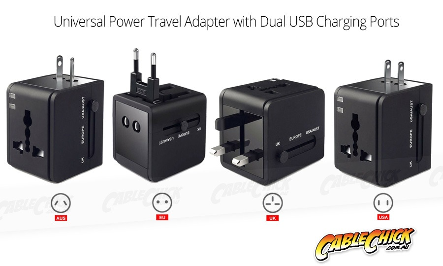 Universal Travel Mains Socket Adapter with Dual USB Charger (Photo )