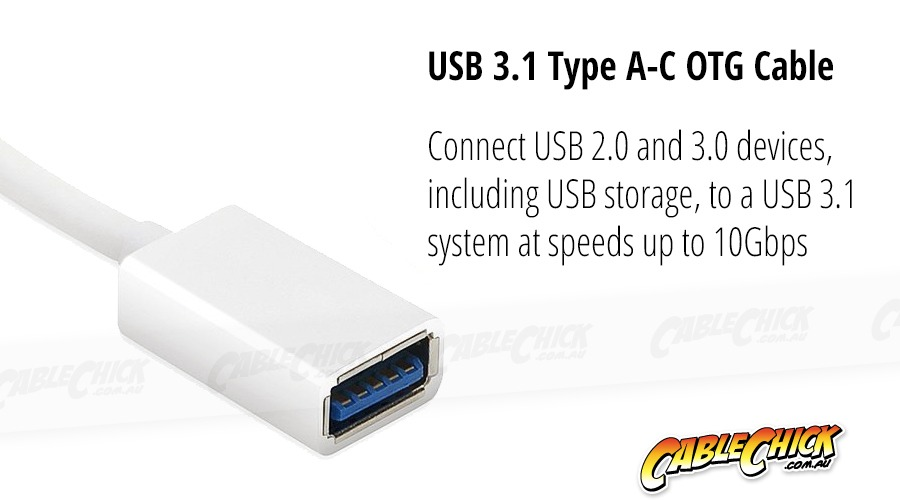 10cm USB-C OTG Cable (USB 2.0 Interface - White) (Photo )