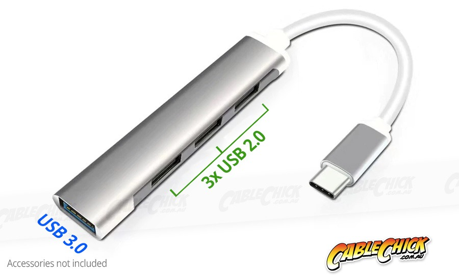 Ultra-Slim 4-Port Super-Speed USB Hub with USB-C Interface (1x USB 3.0 + 3x USB 2.0) (Photo )