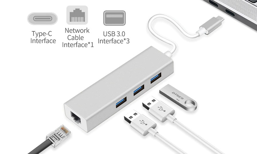 USB 3.1 Type-C 3-Port Hub + Gigabit Ethernet Network Adapter (Photo )