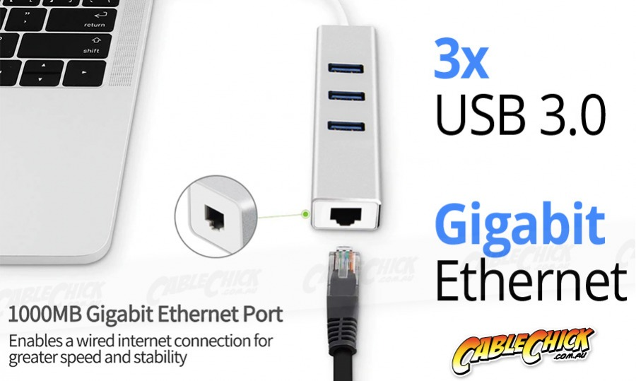 Super-Speed 3-Port USB 3.0 Hub + Gigabit Ethernet Network Adapter (Photo )