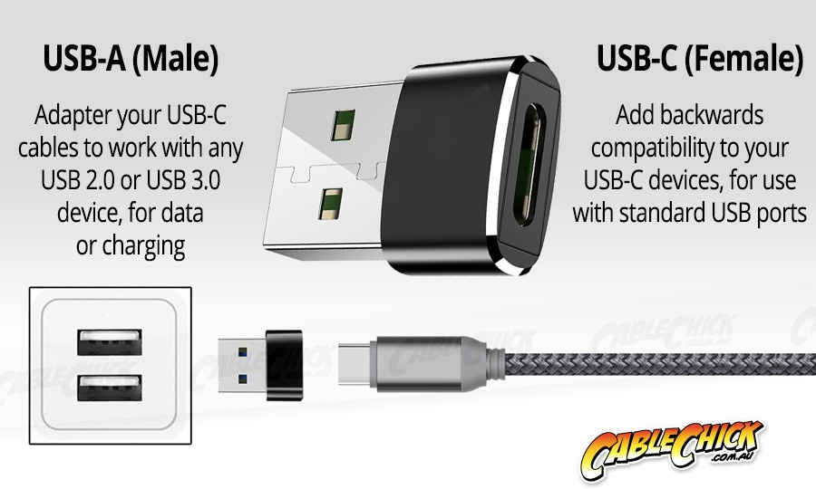 Premium Aluminium USB Type-C (Female) to Type-A (Male) Adapter (Photo )